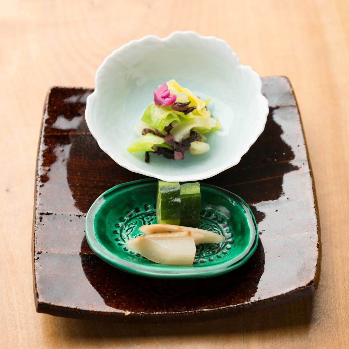 御飯物|鯛と菜の花の炊き込み御飯、ふきとわかめの赤出汁