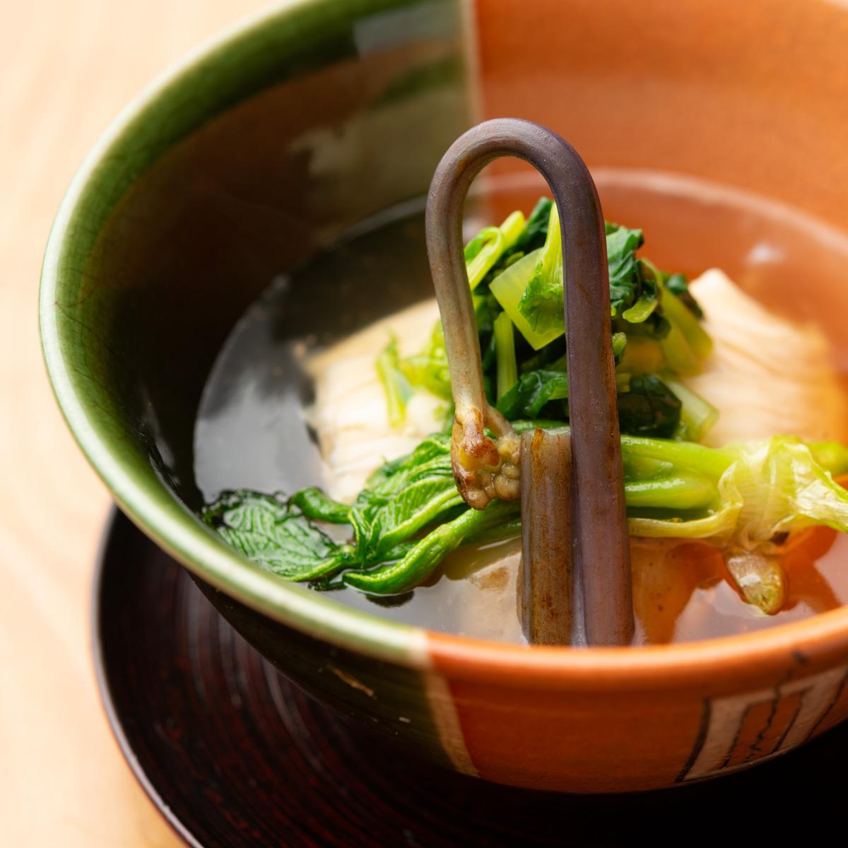 煮物|三河もち豚と春野菜の生湯葉あんかけ