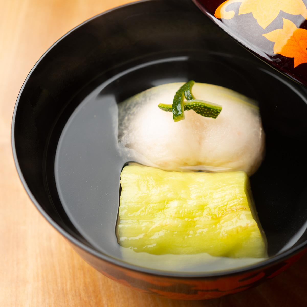 椀物|車海老真丈と焼き茄子のお椀
