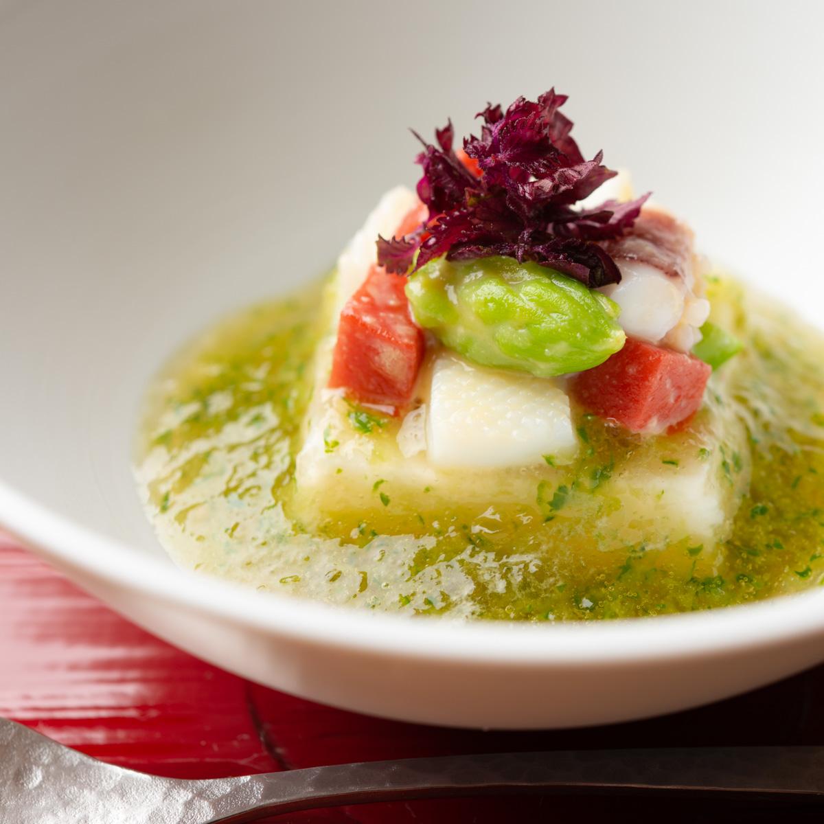 先付|帆立貝のムース 緑酢ジュレ