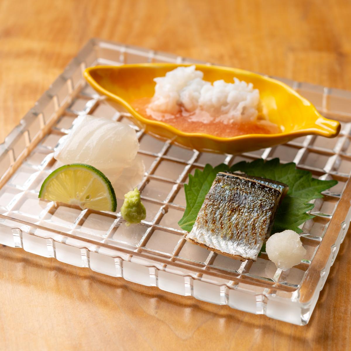 造り|鱧、いちみ鯛、新秋刀魚のお造り