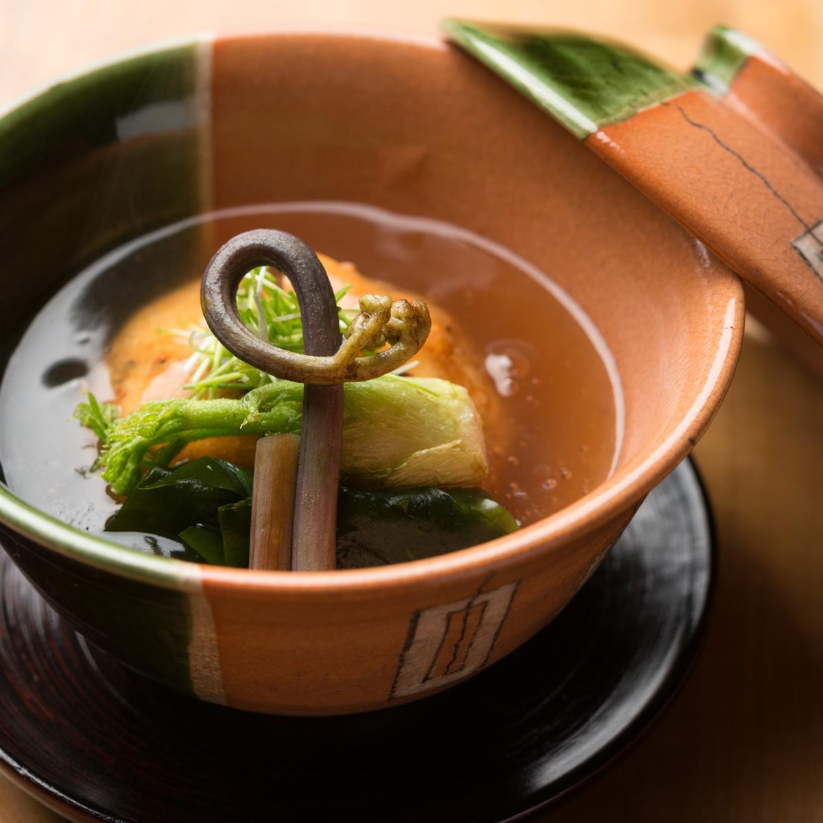 煮物 桜海老の飛龍頭と春野菜の炊き合わせ