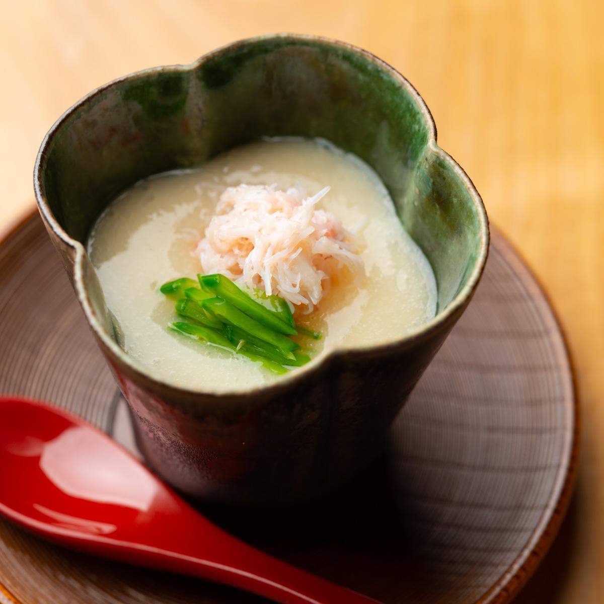 先付|毛蟹とホワイトアスパラの冷製茶碗蒸し